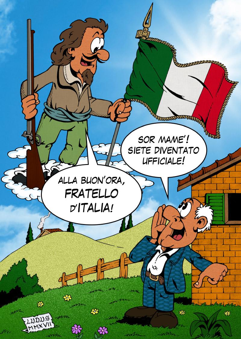 Cartoon on Inno by Mameli