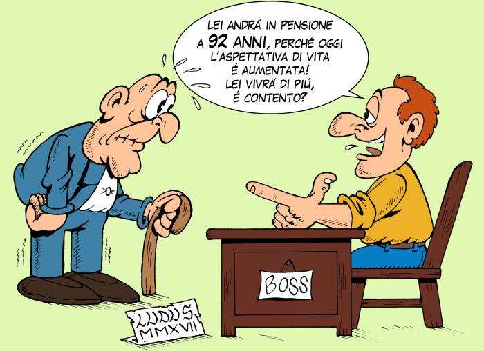 Vignetta sulle pensioni a 67 anni
