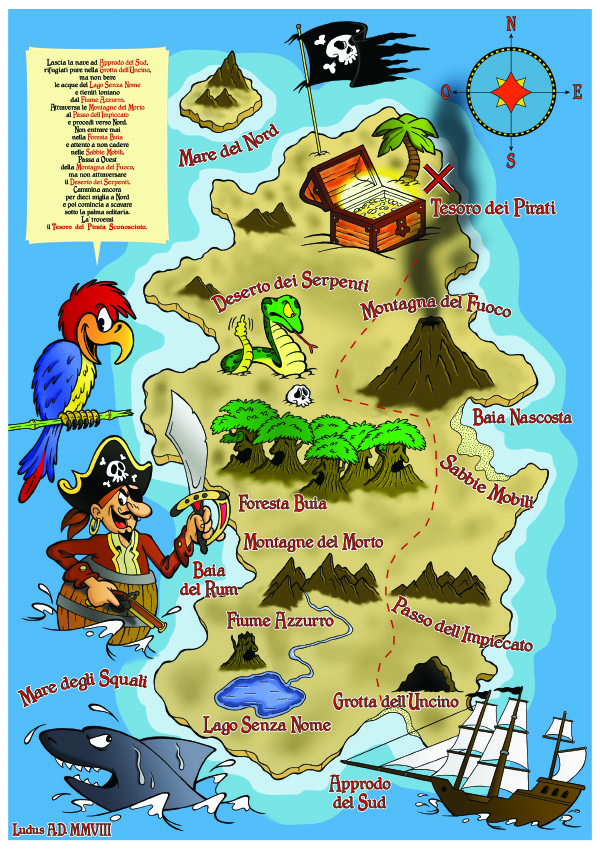 Funny illustration of a pirates map